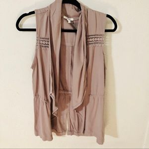 Maurices Waterfall Open Front Taupe Vest Size S